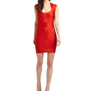 FRENCH CONNECTION RED BANDAGE DRESS